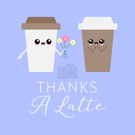 Illustration for Vector illustration of two kawaii coffee cup characters with the coffee pun 'Thanks a latte'. Cute, greeting card concept. - Royalty Free Image