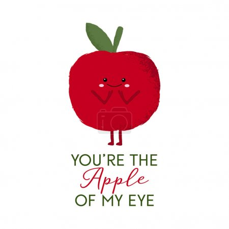 Illustration for Vector illustration of a cute red apple character with the funny pun 'You're the apple of my eye'. - Royalty Free Image