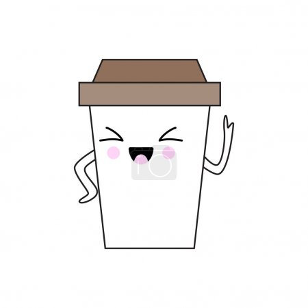 Illustration for Vector illustration of an expressive kawaii coffee cup character. - Royalty Free Image