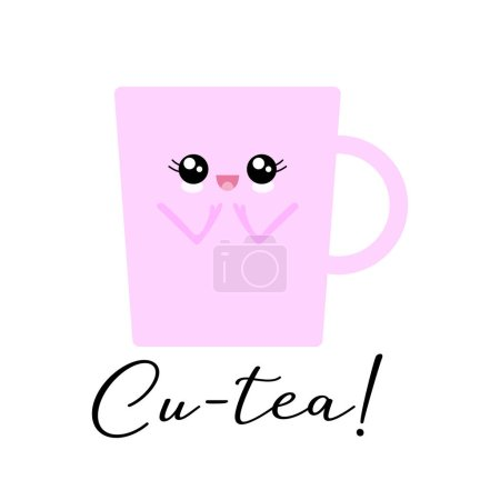 Illustration for Vector illustration of a kawaii teacup  character with the funny pun 'Cu-tea'. Sweet T-Shirt design concept. - Royalty Free Image