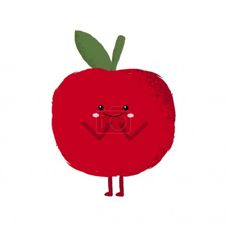 Illustration for Vector illustration of a cute red apple character. Blushing, embarrassed, shy. - Royalty Free Image