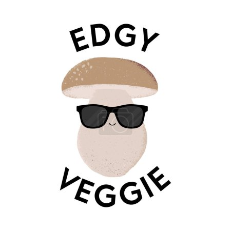 Illustration for Vector illustration of a mushroom character wearing sunglasses with the funny pun 'Edgy Veggie'. Cheeky T-Shirt design concept. - Royalty Free Image