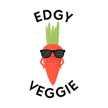 Illustration for Vector illustration of a carrot character wearing sunglasses with the funny pun 'Edgy Veggie'. Cheeky T-Shirt design concept. - Royalty Free Image