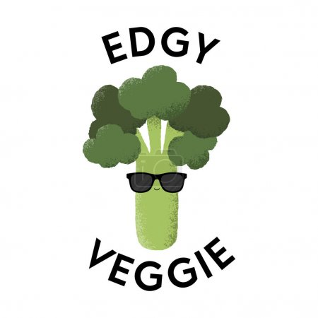 Illustration for Vector illustration of a Broccoli character wearing sunglasses with the funny pun 'Edgy Veggie'. Cheeky T-Shirt design concept. - Royalty Free Image