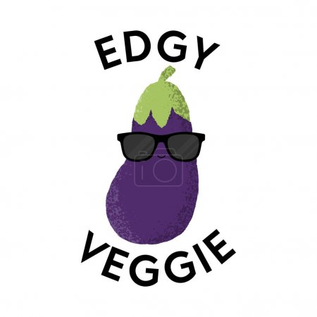 Illustration for Vector illustration of an aubergine character wearing sunglasses with the funny pun 'Edgy Veggie'. Cheeky T-Shirt design concept. - Royalty Free Image