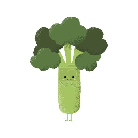 Illustration for Vector illustration of a cute broccoli character. Blushing, embarrassed, shy. - Royalty Free Image