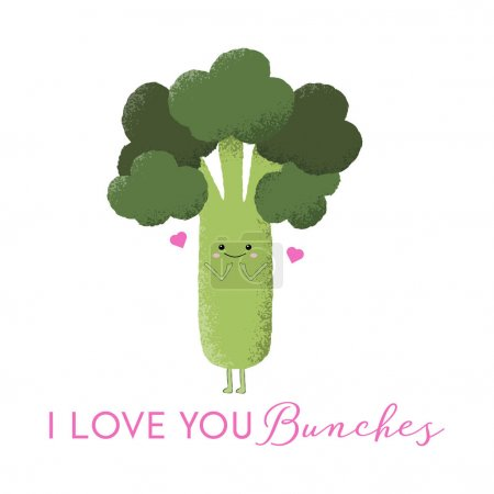 Illustration for Vector illustration of shy kawaii carrot character with the funny pun 'I love you bunches'. Cute, romantic concept. - Royalty Free Image