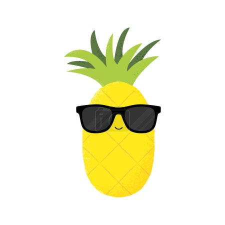Illustration for Vector illustration of a cute pineapple wearing sunglasses. Funny food concept. - Royalty Free Image
