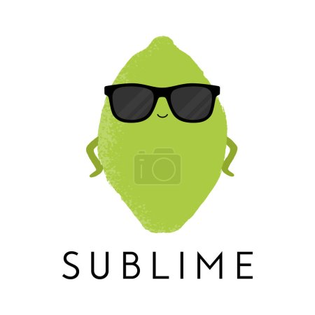 Illustration for Vector illustration of a cute lime wearing sunglasses standing in a sassy pose. Sublime. Funny food concept. - Royalty Free Image
