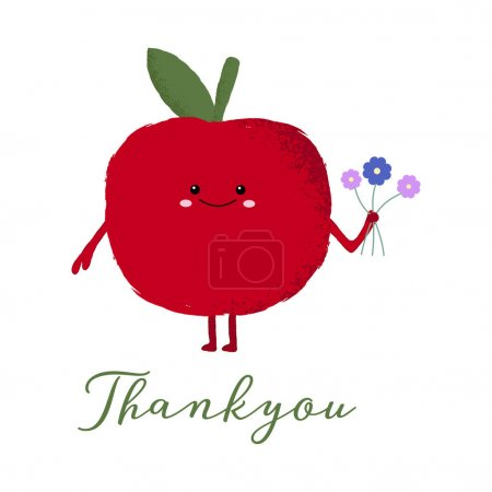 Illustration for Vector illustration of a cute apple with a kawaii face holding a bunch of flowers. Thankyou card. Cute food concept. - Royalty Free Image