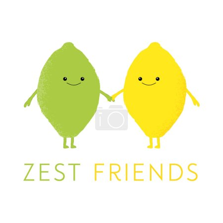 Illustration for Vector illustration of a cute lemon and lime with kawaii faces. Zest friends. Cute food concept. - Royalty Free Image