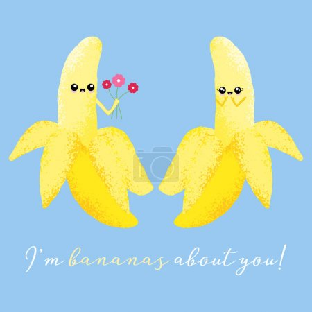 Illustration for Vector illustration of 2 cute bananas with a kawaii faces. I'm bananas about you. Romantic food concept. - Royalty Free Image