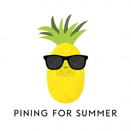 Illustration for Vector illustration of a cute pineapple wearing sunglasses. Pining for summer. Funny food concept. - Royalty Free Image