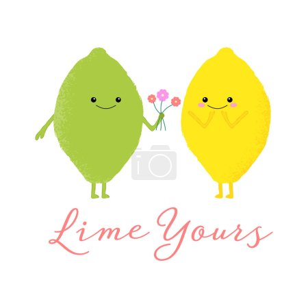 Illustration for Vector illustration of a cute lemon and lime with kawaii faces. Lime yours. Romantic food concept. - Royalty Free Image