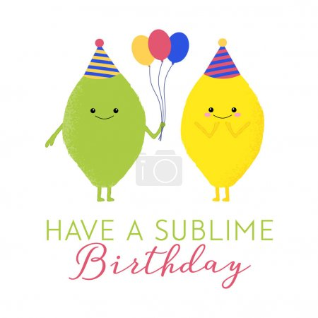 Illustration for Vector illustration of a cute lemon and lime with kawaii faces. Have a sublime birthday. Funny food concept. - Royalty Free Image