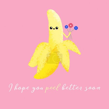 Illustration for Vector illustration of a cute banana with a kawaii face and bunch of flowers. I hope you peel better soon. Cute food concept. - Royalty Free Image