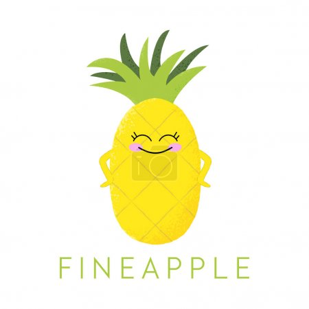 Illustration for Vector illustration of a cute pineapple with a kawaii face. Fineapple. Funny food concept. - Royalty Free Image