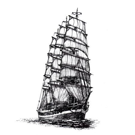 Ship sailing yacht boat antique vintage antique bl...
