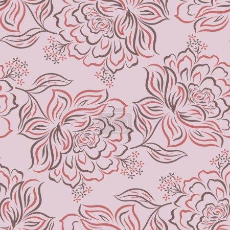 Illustration for Seamless vector rose flower pattern design - Royalty Free Image