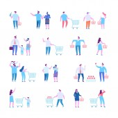 Different people shopping at mall or supermarket Flat vector illustration