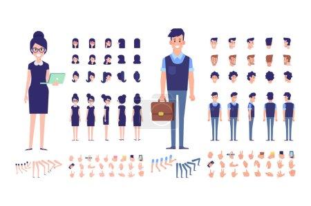 Illustration pour Avant, côté, arrière, 3 / 4 vue personnages animés. Gestionnaires de bureau constructeur. Création de gens d'affaires ensemble avec différentes vues, coiffures et gestes. Dessin animé, illustration vectorielle plate . - image libre de droit