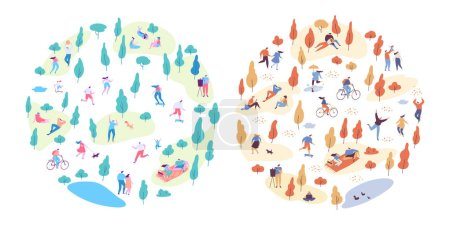 Illustration for Autumn and summer vector park background. Various people at park. Seasons changing. Leisure outdoor activities - walking, playing with ball, jogging, reading, picnic lunch in park. Flat Cartoon style. - Royalty Free Image