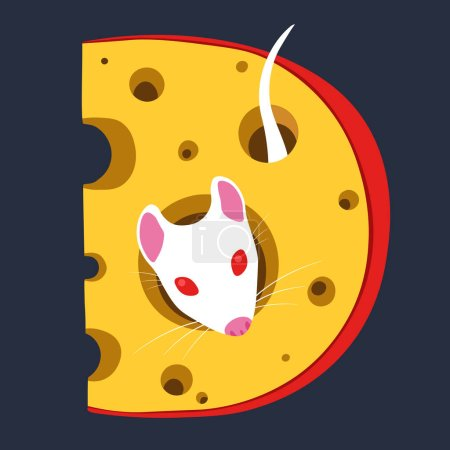 Illustration for White Lab Rat in Dutch Cheese with Holes - Royalty Free Image
