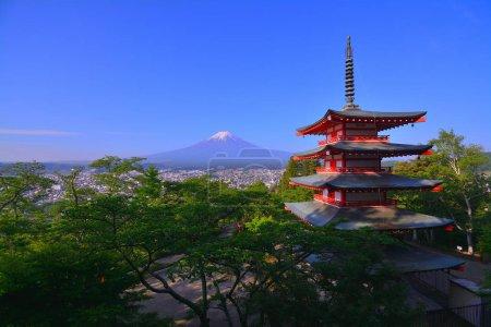 Mt.Fuji of the blue sky from Arakurayama Sengen Park in Fujiyoshida City Japan 05/18/2018