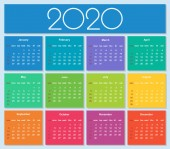Colorful year 2020 calendar Simple Vector Template Isolated illustration