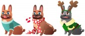 Set of three French Bulldogs during the winter holiday Vector Illustration