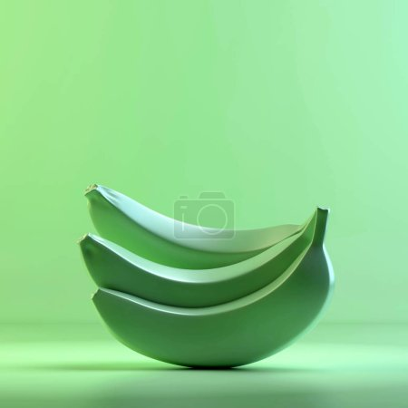 Rendering of bananas. 3D design mockup. All objects and background painted in one bright colour. Full monochrome illustration. Total green color.