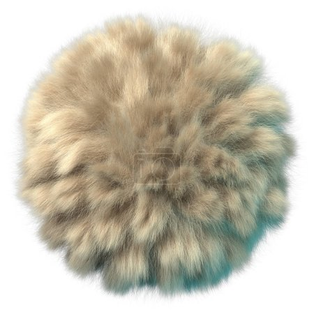 Photo for 3d rendering of fluffy ball. Frizzy beige hair pompon. Realistic shiny fur with clumps and detailed shadow. Isolated on white background - Royalty Free Image