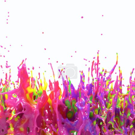 3d rendering of colorful splash. Many colors diffuse in one liquid drop. Abstract paint explosion on white background. Glossy oily fluid with rainbow stains. Mixed different pigments