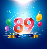 89  years blue anniversary decorative background with balloons