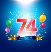 74  years blue anniversary decorative background with balloons