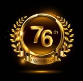 76 years golden  anniversary logo on black background