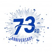 73 years blue  anniversary logo with firework