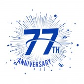 77 years blue  anniversary logo with firework