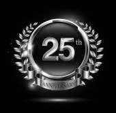 25 years silver anniversary celebration logo with ring and ribbon laurel wreath design