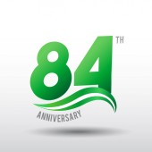 84 years green  anniversary logo decorative background