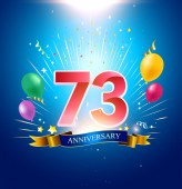 73  years blue anniversary decorative background with balloons