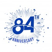 84 years blue  anniversary logo with firework