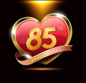 85 years red heart  anniversary logo decorative background