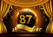 87 years golden anniversary celebration logo with ring and ribbon