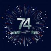 74 years silver  anniversary logo decorative background