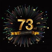 73 years golden  anniversary logo with firework on black background