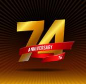 74 years anniversary logo with ribbon
