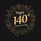 140 years golden  anniversary logo with firework on black background