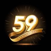 59  years golden   anniversary logo decorative background