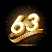 63  years golden   anniversary logo decorative background